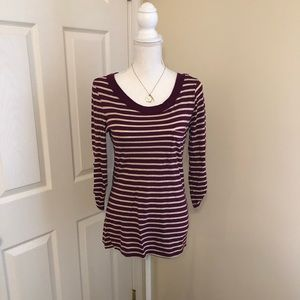 Maroon and Cream Gap Striped Shirt, Size Small